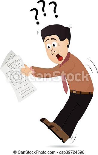 journal, lecture, dessin animé, suprised - csp39724596