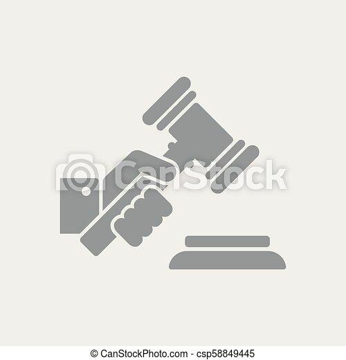 juge, marteau, tenant main - csp58849445