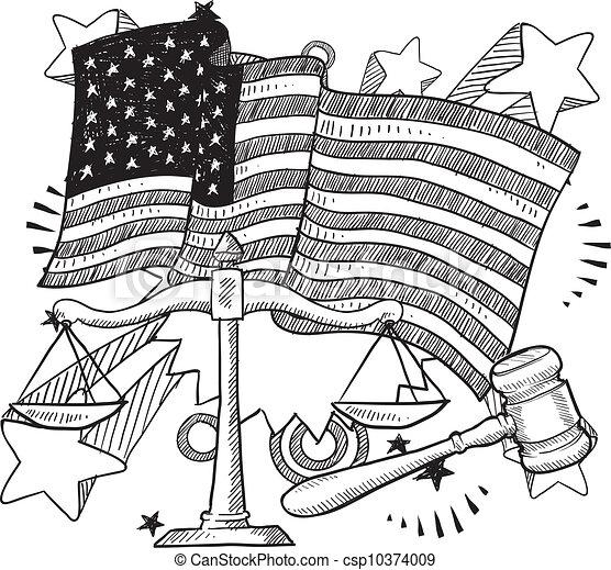 justice, américain, croquis - csp10374009