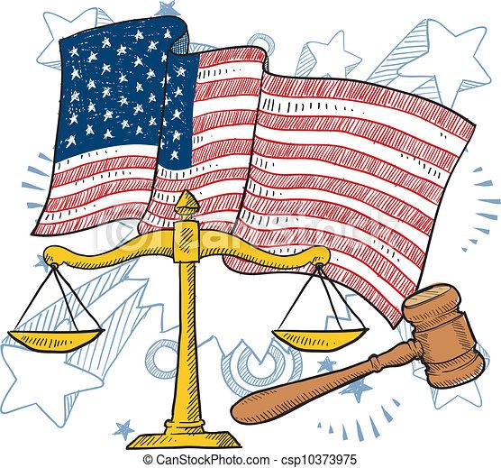 justice, américain, vecteur - csp10373975