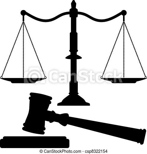 justice, marteau, vecteur, balances - csp8322154