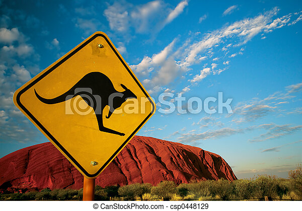 kangourou, rocher - csp0448129