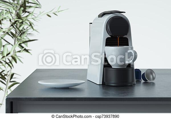 kitchen., café, confection, moderne, confortable, 3d, capsules, petit déjeuner, machine, time., processus, express, rendering., frais - csp73937890