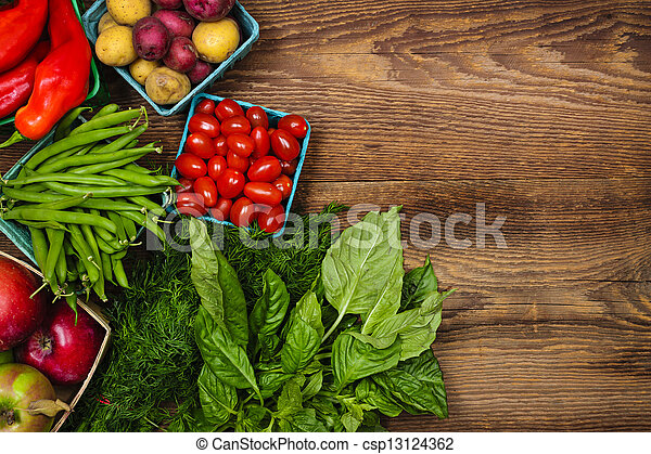 légumes frais, marché, fruits - csp13124362