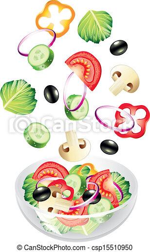 légumes, voler, salade - csp15510950