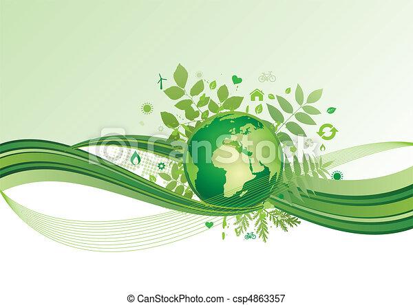 la terre, environnement, vert, ba, icône - csp4863357