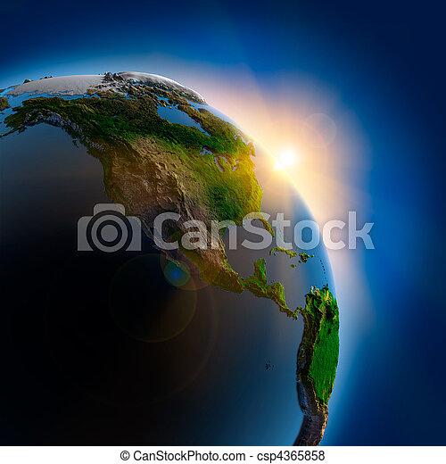 la terre, sur, extérieur, levers de soleil, espace - csp4365858