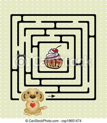labyrinthe, chien, mignon, résumé - csp19651474