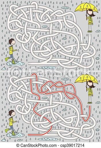 labyrinthe, jour pluvieux - csp39017214