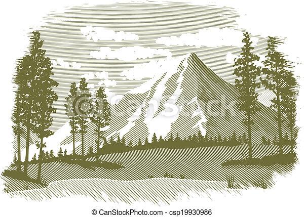 lac montagne, woodcut, scène - csp19930986
