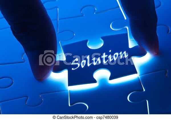 laissez perplexe morceau, mot, solution - csp7480039