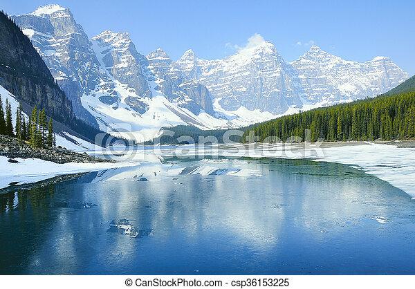 lake., banff, national, park., moraine - csp36153225
