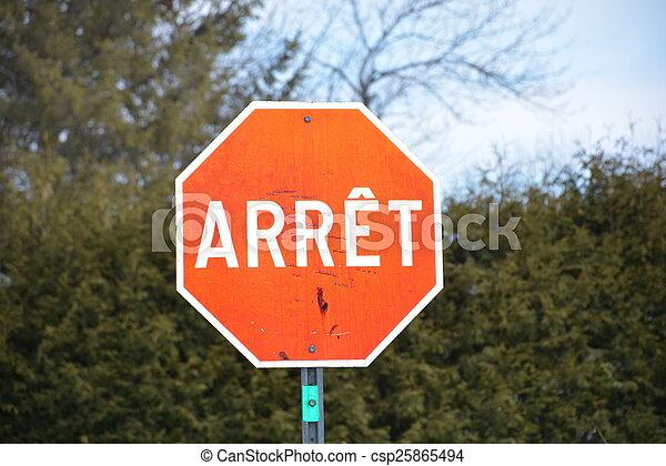 langue, moyens, arrêt, même, signe, n'importe quel, rouges - csp25865494