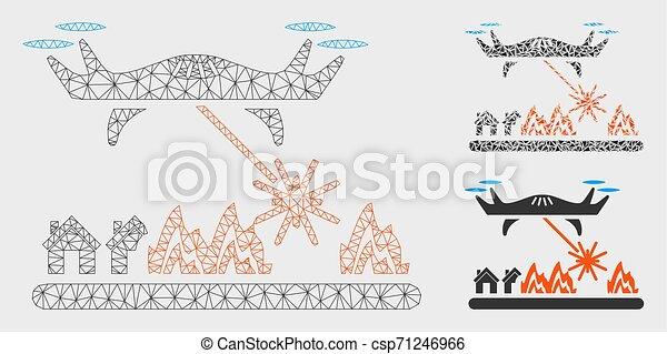laser, réseau, attaques, maille, bourdon, vecteur, village, triangle, modèle, mosaïque, icône - csp71246966