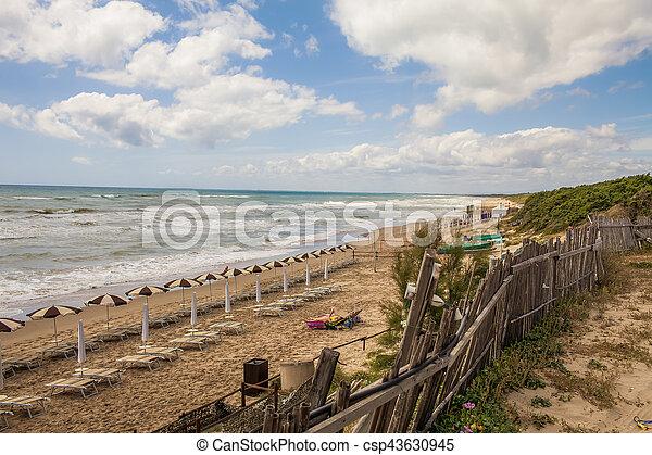 lazio, plage, italie, sabaudia - csp43630945