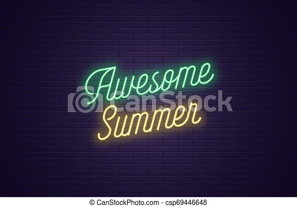 lettrage, texte, impressionnant, néon, incandescent, summer. - csp69446648