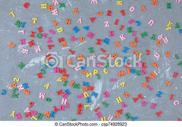 lettres, anglaise, bois, coloré, dispersé - csp74928923