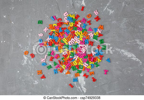 lettres, anglaise, bois, coloré, dispersé - csp74929338