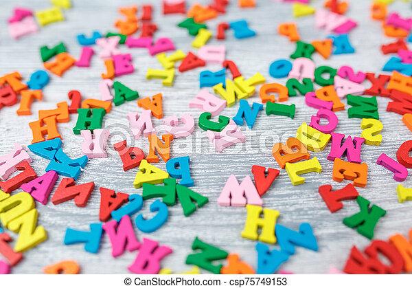lettres, fond, bois, coloré, gris - csp75749153