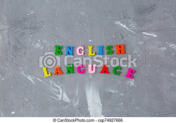 lettres, inscription, anglaise, bois, coloré - csp74927666
