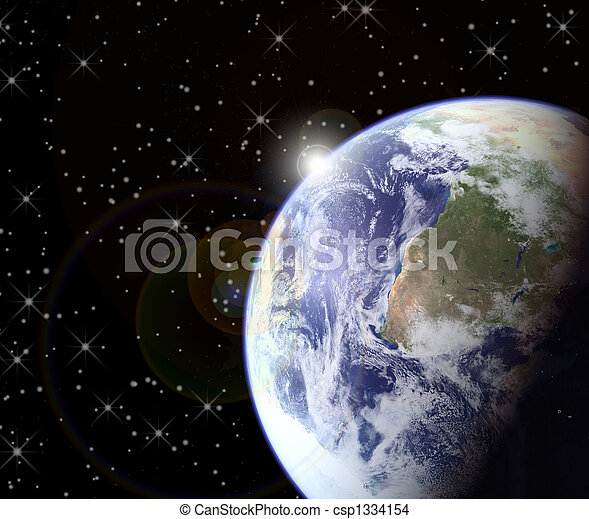 levers de soleil, espace - csp1334154