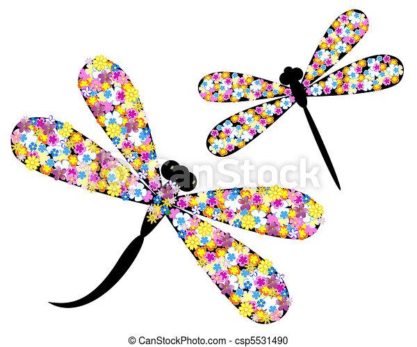libellule, fleurs - csp5531490
