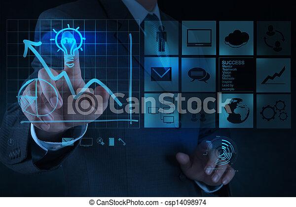 lightbulb, concept, dessine, business, solution, main, informatique, homme affaires, interface, nouveau - csp14098974