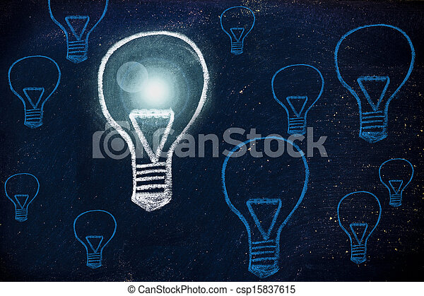 lightbulbs, idée, craie, conception, enjôleur - csp15837615