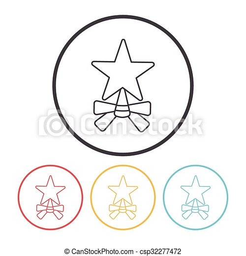 ligne, étoile, noël, icône - csp32277472