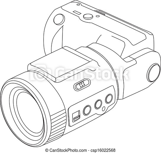 ligne, appareil photo, dessin - csp16022568