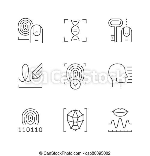 ligne, biométrie, icônes, ensemble - csp80095002