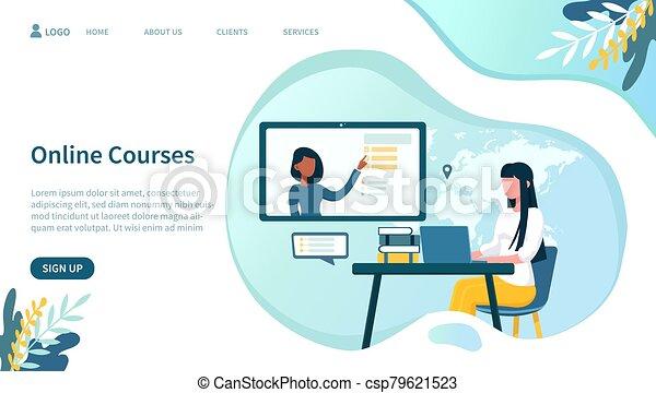 ligne, cours, ordinateur portable, femme, concept - csp79621523