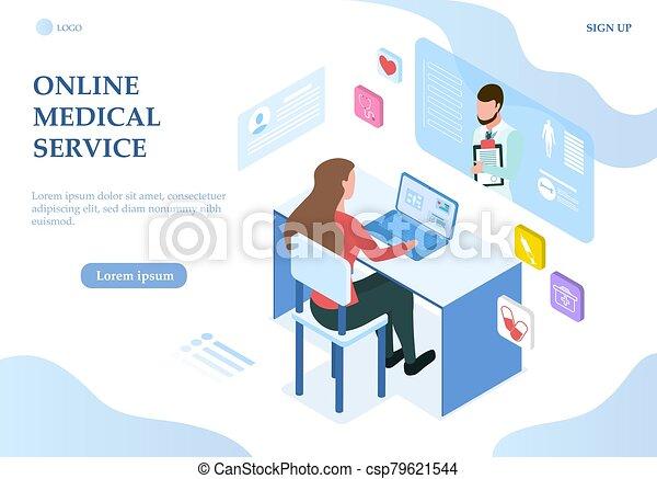 ligne, thème, service, ordinateur portable, monde médical, femme - csp79621544