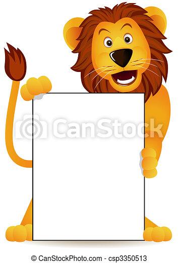 lion, bannière - csp3350513