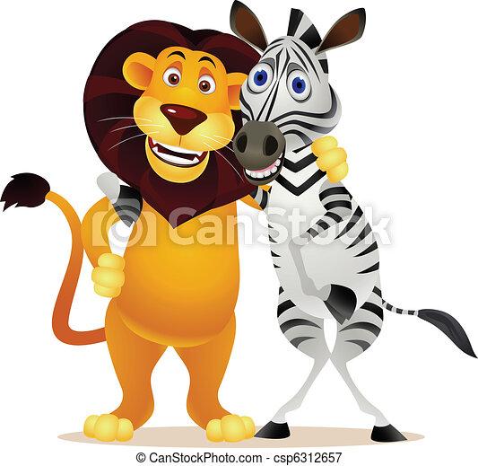 lion, zebra - csp6312657