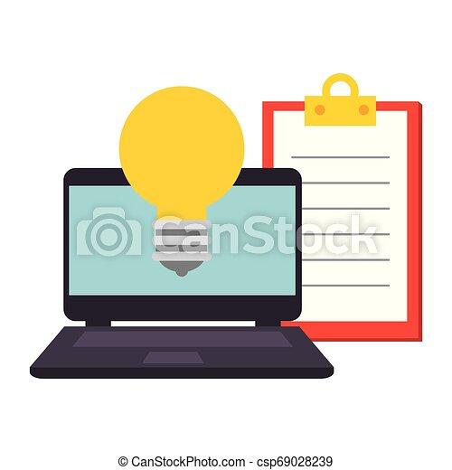 liste contrôle, ampoule, ordinateur portable, lumière - csp69028239