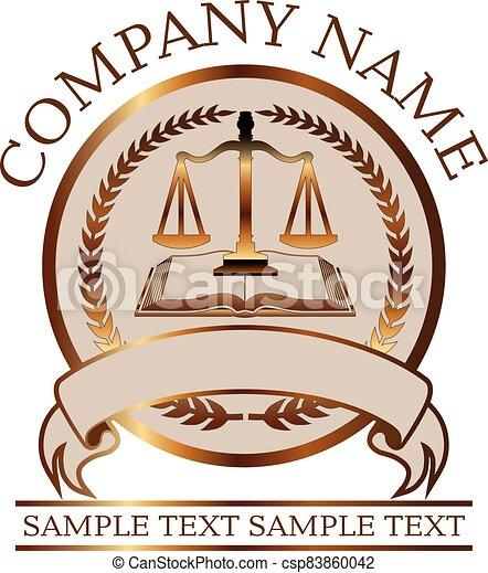 livre, avocat, justice, or, ou, cachet, balances, droit & loi, - - csp83860042