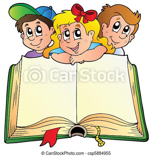 livre, enfants, ouvert, trois - csp5884955