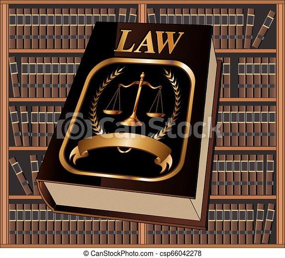 livre loi, bibliothèque, cachet - csp66042278