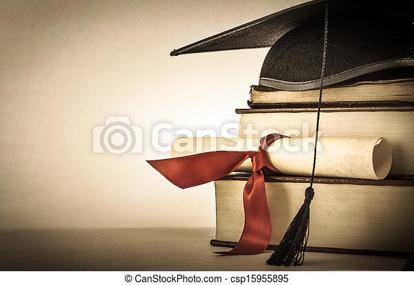 livre, rouleau, remise de diplomes, pile - csp15955895
