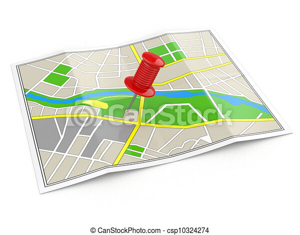 location., carte, concept., gps, thumbtack. - csp10324274
