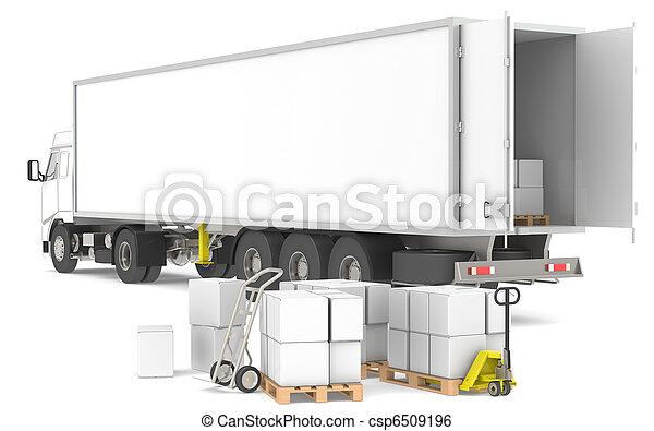 logistique, distribution., series., trucks., bleu, jaune, boîtes, partie, palettes, entrepôt, ouvert, caravane - csp6509196