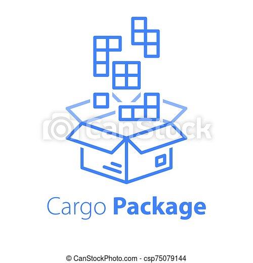 logistique, magasin, paquet, multiple, ordre, meute, articles, grand, services, boîte, réunir, ensemble - csp75079144