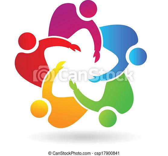 logo, collaboration, étreindre, gens - csp17900841