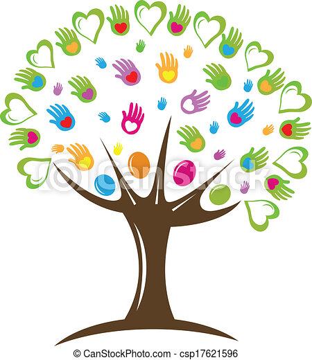 logo, symbole, cœurs, arbre, mains - csp17621596