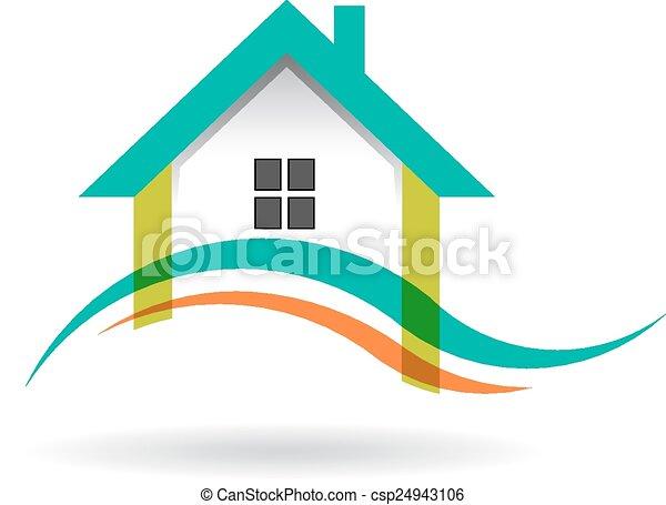 logo, vague, maison - csp24943106