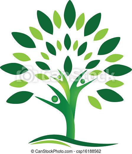 logo, vecteur, arbre, gens, collaboration - csp16188562