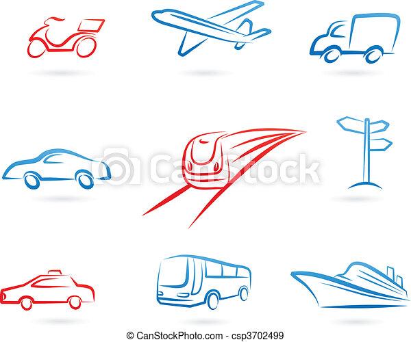 logos, transport, icônes - csp3702499