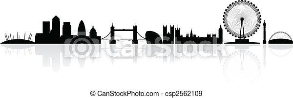 londres, silhouette horizon - csp2562109