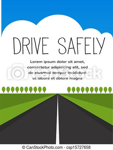 long, sûr, vide, route, conduire - csp15727658